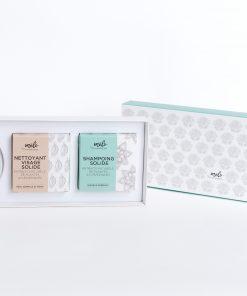 Coffret cosmétique ayurvédique zéro déchet nettoyant visage ayurvédique, shampooing solide zéro déchet